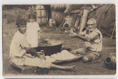 Ethnographic Hawaiian Family Making Poi, C1910 Real Photo Postcard
