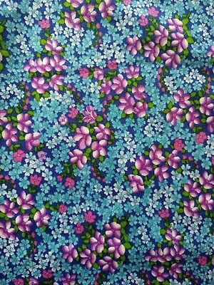 Vintage Polyester Nylon Floral Fabric