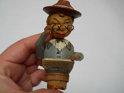 Mechanical Cork Topper stopper Figure Man Eyeglasses Move Head Bobs Anri ?