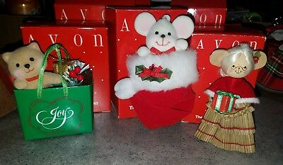 lot of 3 Avon ornaments Holiday friend, Mrs. Claus, peek a boo mouse