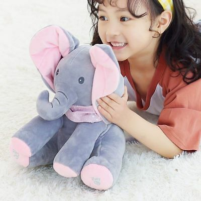 Peek a boo Singing Elephant Toy Stuffed Music Doll Animated Kids Gift Baby cuteS