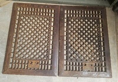 2 Large Antique Cast Iron Floor Heat Grate Vent Register 15 3/4 X 23 1/4 Insert