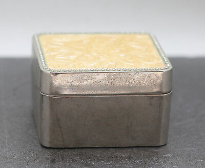 Very Good Quality Square Stainless Steel Trinket Box With Pearlised  Lid Vintage