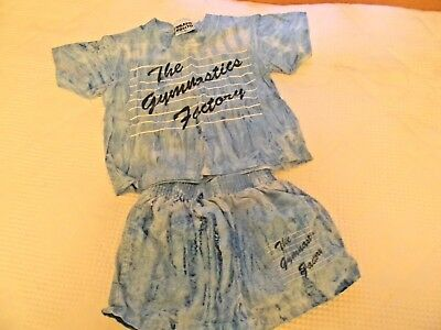 Vintage Girls size 2T two piece blue shorts t-shirt outfit Gymnastics Factory