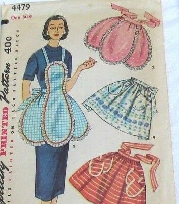 1950s Vintage Apron  Sewing Pattern Simplicity 4479 Flower Petals Full or Half