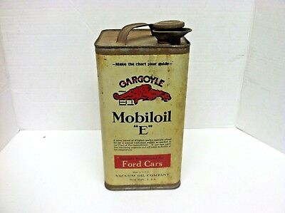 "1920s  Mobiloil  Gargoyle  "" E ""  Oil Can. For Ford cars - One gallon metal can"