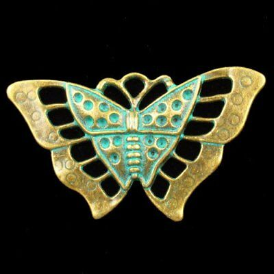 N15375 Carved Brass Bronze Butterfly Pendant Bead 55x33x2mm