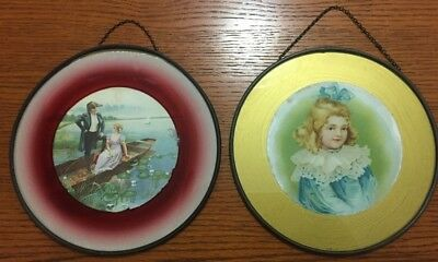 2 Antique Picture Flue Covers - Romantic Couple & Young Girl