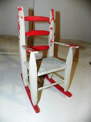 """ATQ CHILD DOLL TEDDY-BEAR PAINTED WOOD WOODEN ROCKING CHAIR w/CANE SEAT~12"""" TALL"""