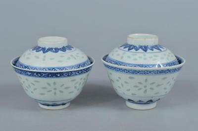 R315: Chinese Firefly watermarks sculpture TEA BOWL/dish of soup 2pcs