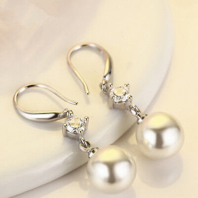Crystal Diamante Pearl Drop Earrings 925 Silver Drop Bride Earring Jewellery New