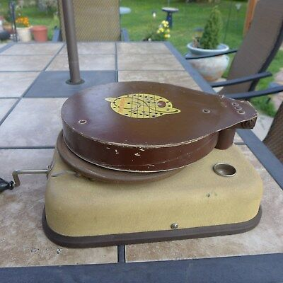 Antique Phonocone 78 Rpm Picnic Phonograph With A Cardboard Resonating Sound Box