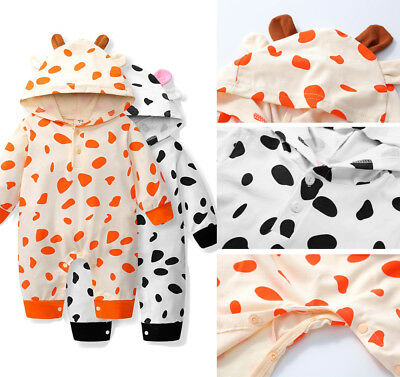 US Stock Newborn Baby Boys Girls Romper Hooded Cow Jumpsuit Bodysuit 1Pc Outfit
