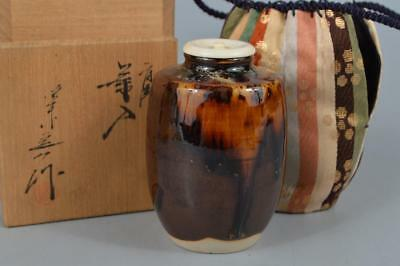 R354: Japanese Kiyomizu-ware TEA CADDY High class lid, Oketani Teiichi made