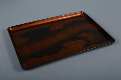 M9662: Japanese Wooden Cloud gold lacquer pattern WOODEN TRAY/Ornamental plate