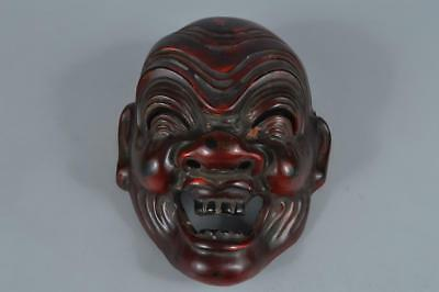 R329: Japanese Wooden Dry lacquer Person sculpture MASK Noh mask Kyogen