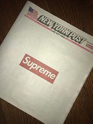 Supreme X New York Post Newspaper NYC - August 13 2018 - IN HAND SHIPS TODAY!!