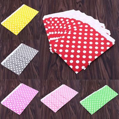 BE43 25X Polka Dot Sweet Candy Favour Popcorn Treat Paper Party Bags 6Color
