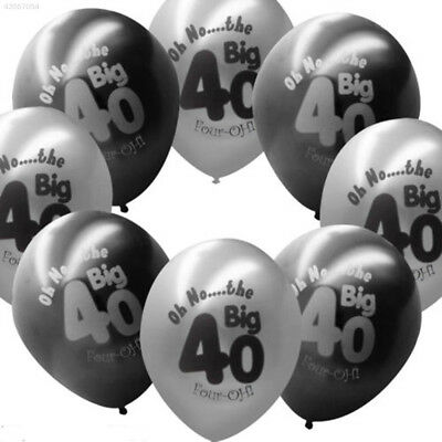 42C3 10Pcs/Set Baby 40th Birthday Pearlised Latex Printed Balloons Supply Decor