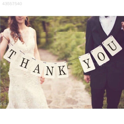 F1C7 THANK YOU Letter Wedding Banner Bunting Sign Married Photo Prop Decoration