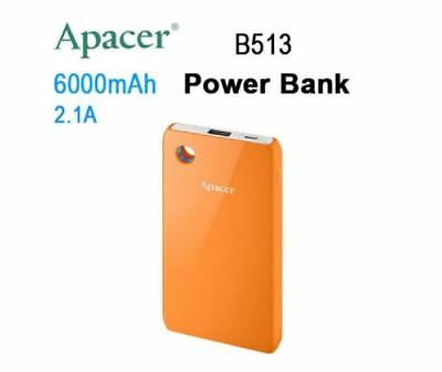 New Apacer Mobile Power Bank B513 6000Mah Orange Rp Fast Charging Speed Led Ring
