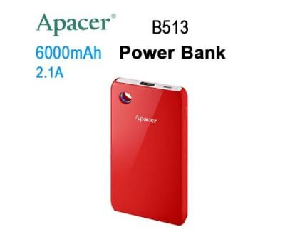New Apacer Mobile Power Bank B513 6000 Mah Red Rp Fast Charging Speed Led Ring