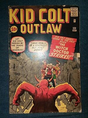 Kid Colt Outlaw Comic Book 100 Atlas GREAT Kirby Art Warroo The Witch