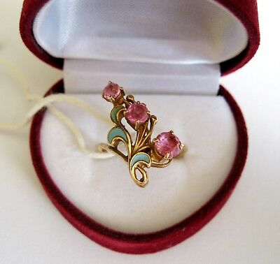 Exclusive Last Century Awesome RUBY GOLD 14K ring Enamel Stamp 583 USSR Antique
