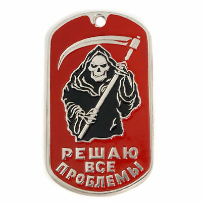 Russian Military Dog Tag - Solve All Problems - Death Scull Grim Reaper