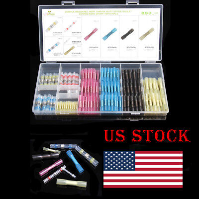 200x Solder Sleeves Heat Shrink Butt Connector Terminal Electrical Wire Seal Set