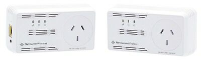 Used: NetComm NP205 Powerline Adapters AC Pass-through Up to 200mbps