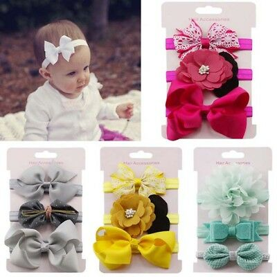 3Pcs Kids Elastic Floral Headband Girls Bowknot Headwear Hair Band Set 8C