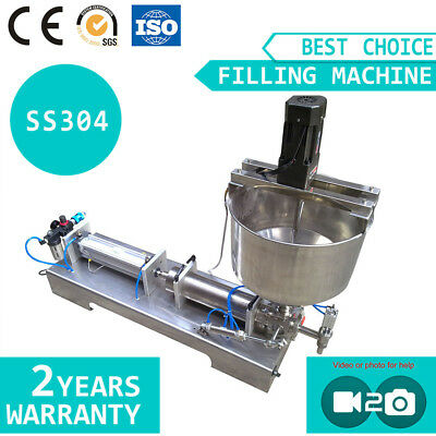 Piston Filling Machine with Mixing  Hopper for Fill Shampoo Paste Cream Sauce