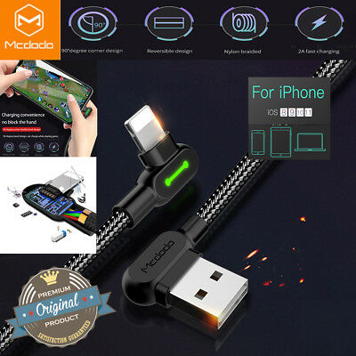 Mcdodo For iPhone X 8 7 6 6s Plus 5 SE 90° Lightning Cable Charge USB Data Cord