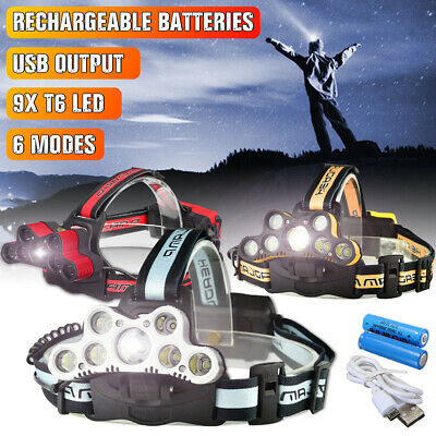 150000LM 9x T6 LED Rechargeable Headlamp Headlight 18650 Head Torch Light Lamp