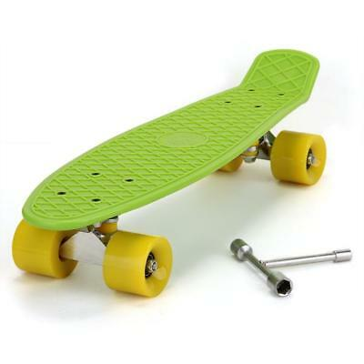 Retro Fish Style Skate BOARD Complete Deck Mini for Young People Green 22inch