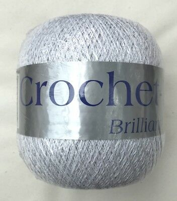 2000m 400g Crochet-King Crochet Cotton White Silver Metallic Thread Size 10