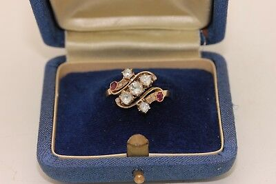 Antique Original Ottoman Gold Diamond And Ruby Decorated Amazing Ring