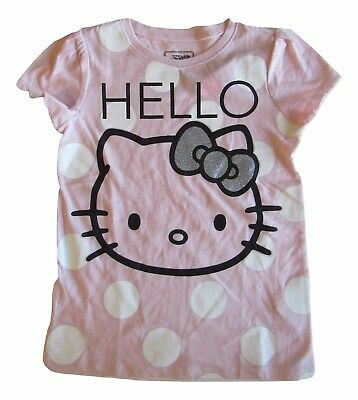 New Old Navy Hello Kitty Shirt Girls Pink 4 Toddler Polka dot Glitter Silver Bow