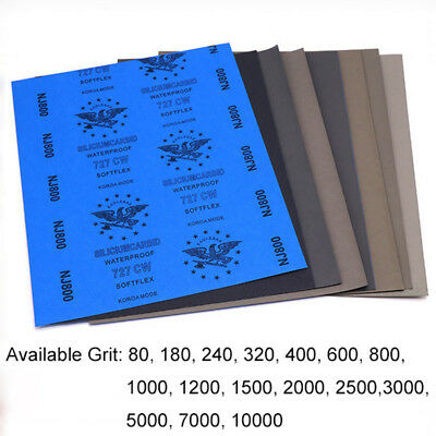 Wet & Dry Sandpaper 80-10000 Grit Polishing Sanding Sheets Soft Microfine