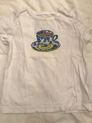 Mini Boden Girls Tea Cup T-shirt 2-3 Play Condition