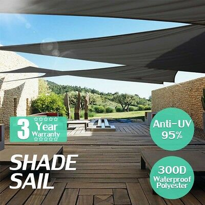 300D Sun Shade Sail Waterproof UV Cover Outdoor Patio Canopy Shelter Grey Black