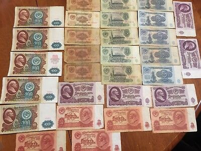 USSR 30 PCS Russia 1,3,5,10,25,100 Rubles 1961 -1992 banknotes circulated