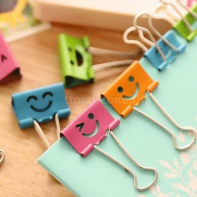 50* Small Size 19mm Smile Metal Binder Clips Paper Clip Clamp Book Assorted J1L1