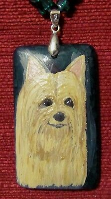 Silky Terrier hand painted on rectangular Agate pendant/bead/necklace