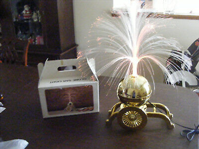 Vintage Gold Ball on Stand Fiber Optic Rotating Light Lamp Taiwan 1970's