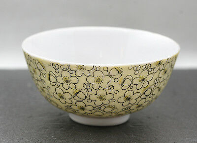 Vintage Thailand Hand Decorated Yellow Porcelain Bowl Stamped On Base