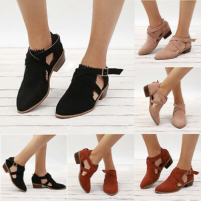 Womens Ankle Boots Cut Out Low Heel Chunky Summer Sandals Outdoor Pumps Shoes
