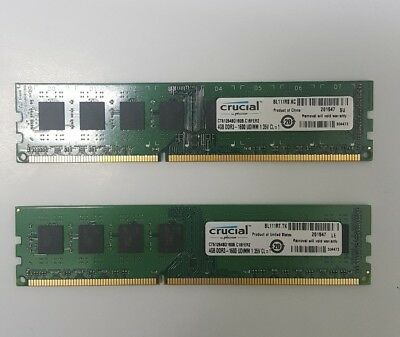 8GB Crucial (2x4GB) DDR3-1600MHz 1.35V  240pin UDIMM Low Density Desktop Memory