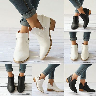 Womens Ankle Boots Flats Low Heel Casual Shoes Chuncky Pumps Synthetic Leather